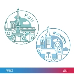 Biggest cities of France Paris and Marseille One vector image vector image