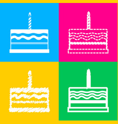 Birthday cake sign four styles of icon on four vector