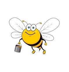 Cartoon smiling bee flying with honey bucket vector image vector image
