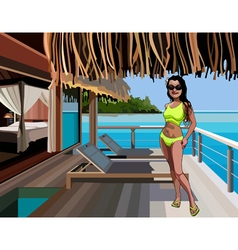 cartoon woman in a bikini standing on the terrace vector image