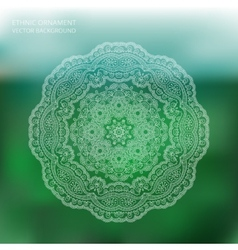 Circle lace ornament mandala blur background vector