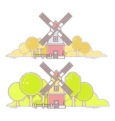 color gray and red windmill with autumn vector image vector image