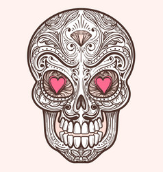 Cute mexican sugar skull vector