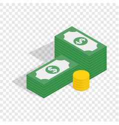 dollars and coins isometric icon vector image