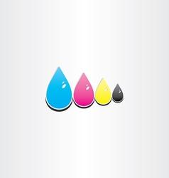 Drops of cmyk ink printing symbol vector