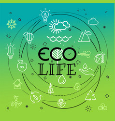 eco life concept different thin line icons vector image vector image