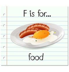 Flashcard letter F is for food vector image vector image