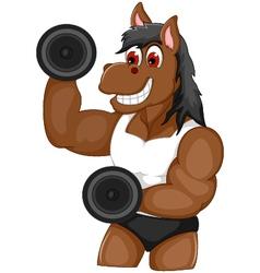 funny horse cartoon fitness vector image