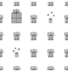 Gift tiny and snowflakes christmas seamless vector