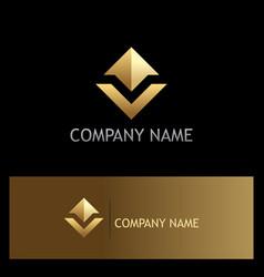 gold arrow up shape company logo vector image