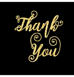 Golden glitter words thank you on black background vector