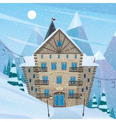 Inn on snow slope vector