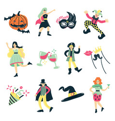Masquerade costume elements collection vector