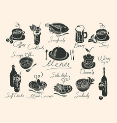 menu with sketches different dishes vector image vector image
