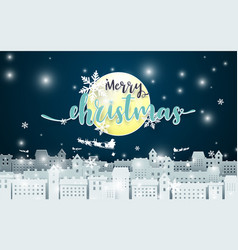merry christmas moon and santa claus driving vector image
