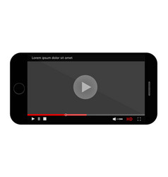 Mobile phone screen with video vector