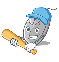 Playing baseball mouse character cartoon style vector