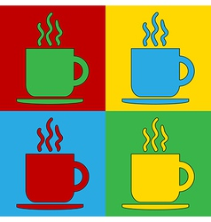 Pop art coffee cup icons vector image