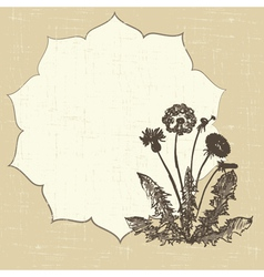 postcard with dandelion vector image