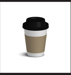 realistic paper coffee cup set black cover white vector image