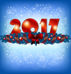 Red New Year 2017 numbers and Xmas decoration vector image vector image