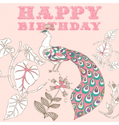 Retro Birthday Floral Card vector image vector image