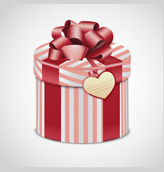Round pink gift box with stripes vector image