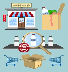 Set of design shopping elements vector image