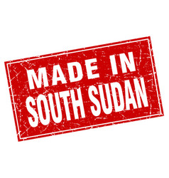 South sudan red square grunge made in stamp vector