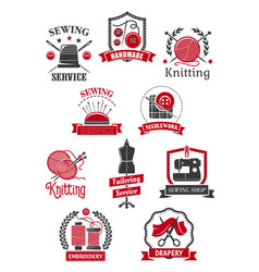 tailor sewing shop symbols for handmade design vector image