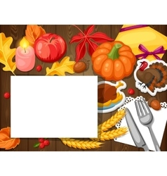 Thanksgiving Day greeting card Background with vector image