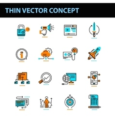 Thin line concept with flat business icons vector