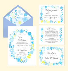 Wedding set of invitation and cards with floral vector