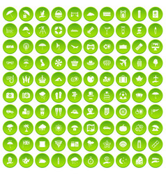100 tv icons set green circle vector