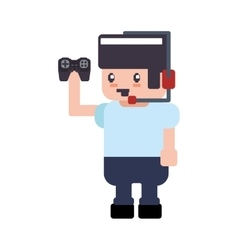 Control boy pixel video game play icon vector