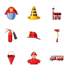 Fiery profession icons set cartoon style vector