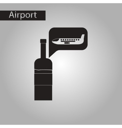 Black and white style icon wine plane vector