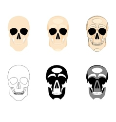Collection icons human skulls logo in various vector image