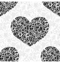 Fine seamless pattern with ornate hearts vector image