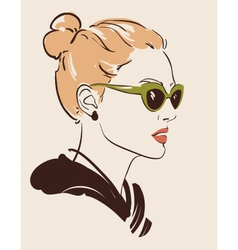 woman in glasses vector image