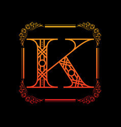 Letter k with ornament vector