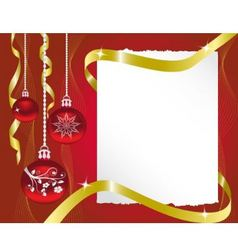 Sheet of paper and christmas decorations vector