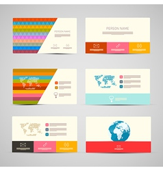 Paper business cards template set on grey vector