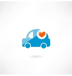 Car with heart icon vector