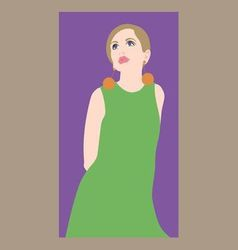 Girl in a green dress vector