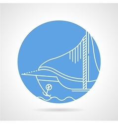 Sail boat round icon vector