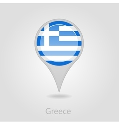 Greece flag pin map icon vector