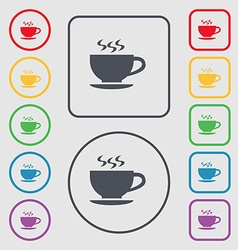The tea and cup icon sign symbol on the round and vector