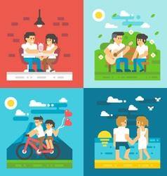 Flat design dating couple set vector