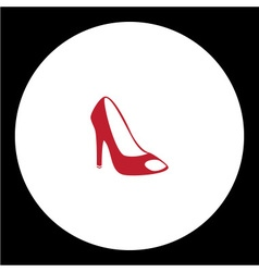 Simple lady court shoe isolated red icon eps10 vector
